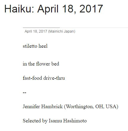 Hambrick stiletto heel haiku The Mainichi 18 April 2017