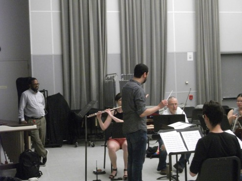 Mark Lomax, Michael Rene Torres and CODE rehearsing Circles Against the Spin